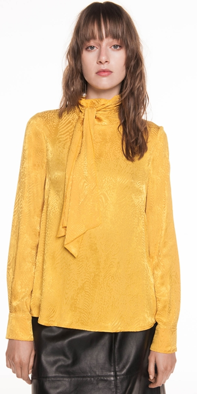 Tops | Golden Animal Jacquard Blouse