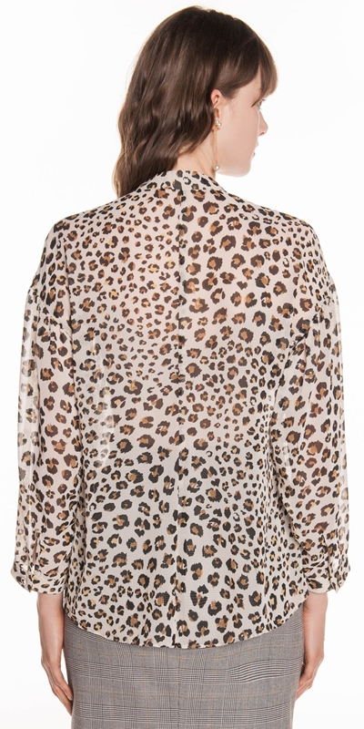 Tops | Leopard Chiffon Blouse