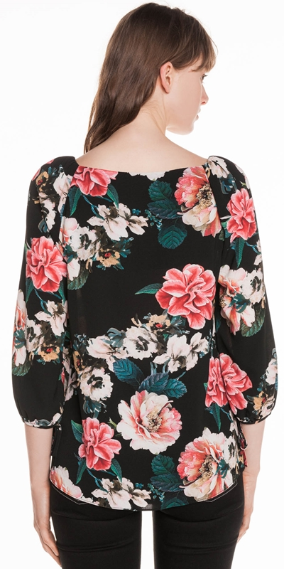Tops | Textured Rose Square Neck Top