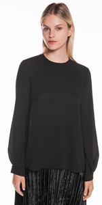 Tops | Crinkle Georgette Tuck Sleeve Top