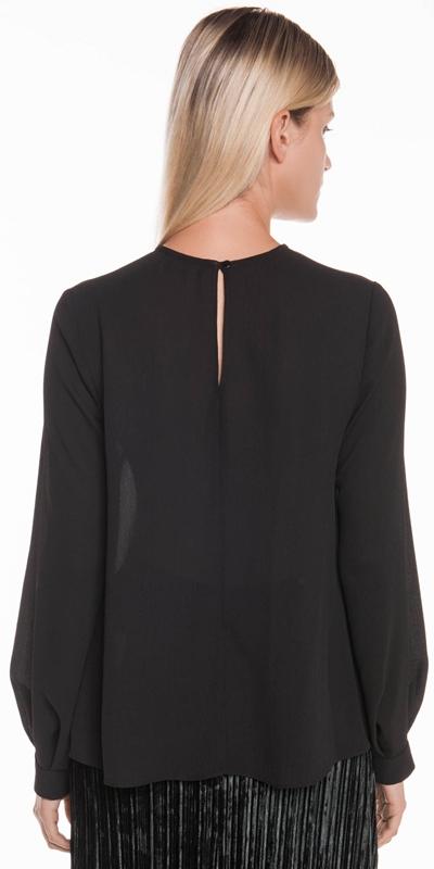 Tops | Crinkle Georgette Tuck Sleeve Top