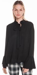 Tops | Crinkle Georgette Fluted Cuff Blouse