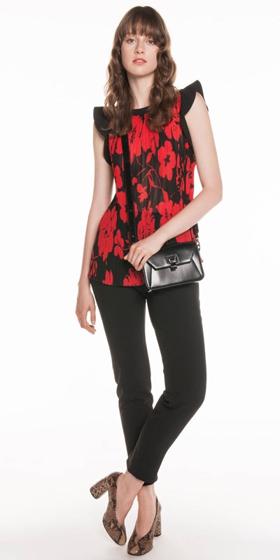 Tops | Bold Poppy Pleated Top
