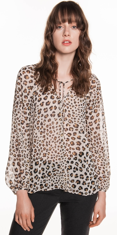 Made in Australia  | Leopard Chiffon Blouson Sleeve Top