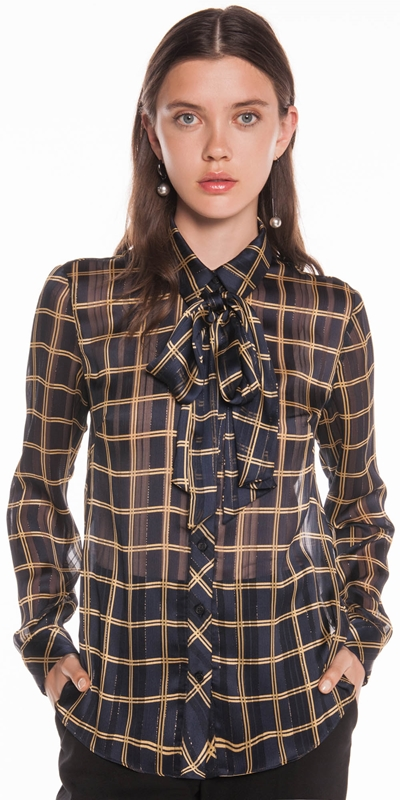 AW19 Curated | Chiffon Satin Check Blouse