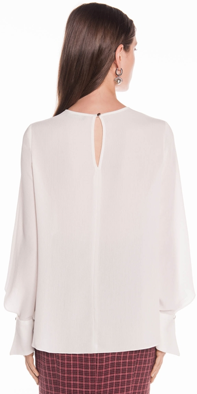 Tops | Crinkle Georgette Fluted Cuff Top