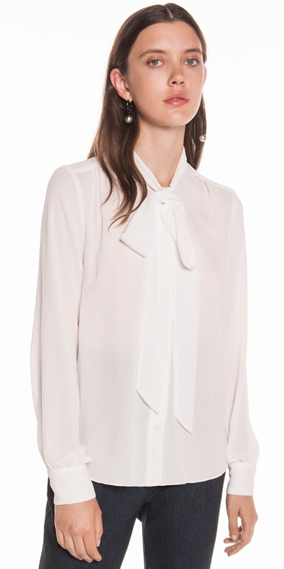 Tops | Crinkle Georgette Tie Neck Blouse