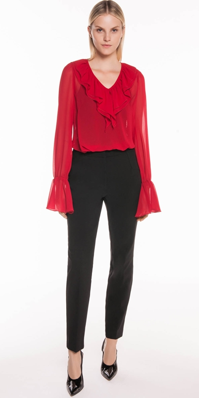 Tops | Rouge Georgette Ruffle Blouse