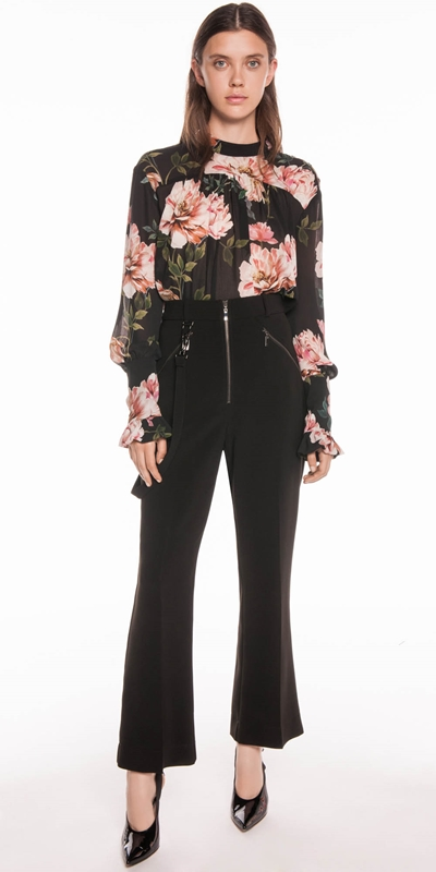 Tops | Textured Rose Blouson Sleeve Blouse