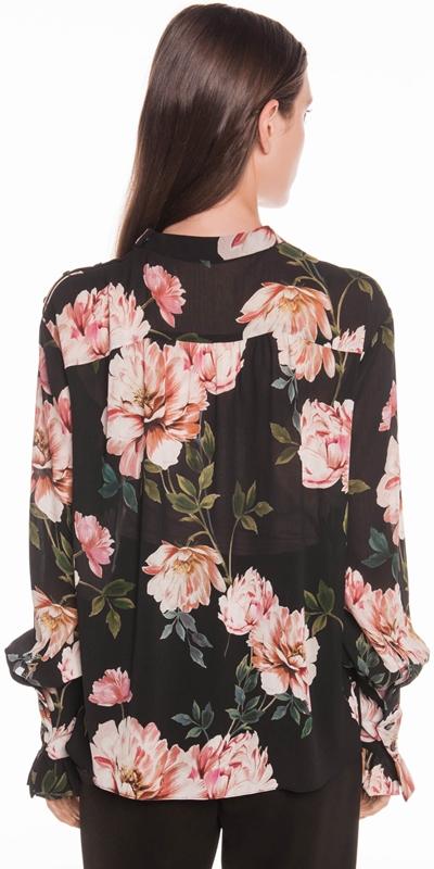 Tops | Textured Rose Blouson Sleeve Blouse
