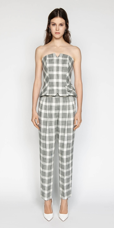Tops | Monochrome Check Bustier