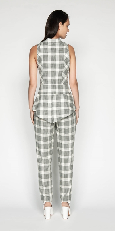 Tops | Monochrome Check Waistcoat