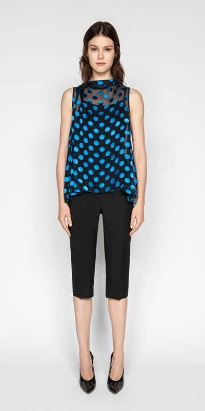 Tops | Silk Spot Burnout Draped Top