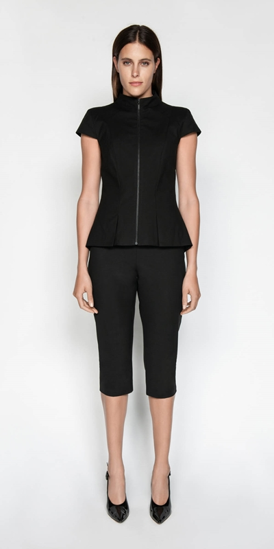 Tops | Cap Sleeve Zip Front Top
