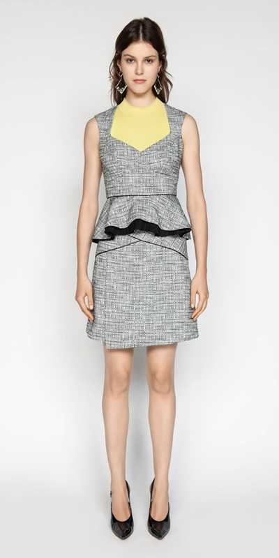 Outlet | Cotton Tweed Peplum Bodice