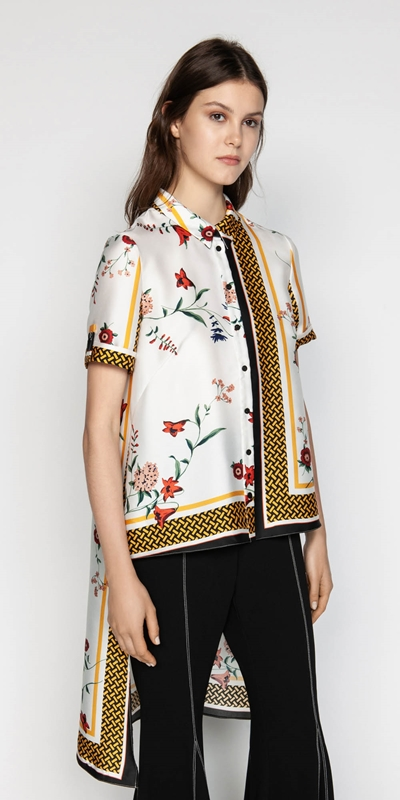 Tops  | Scarf Print Stepped Hem Shirt