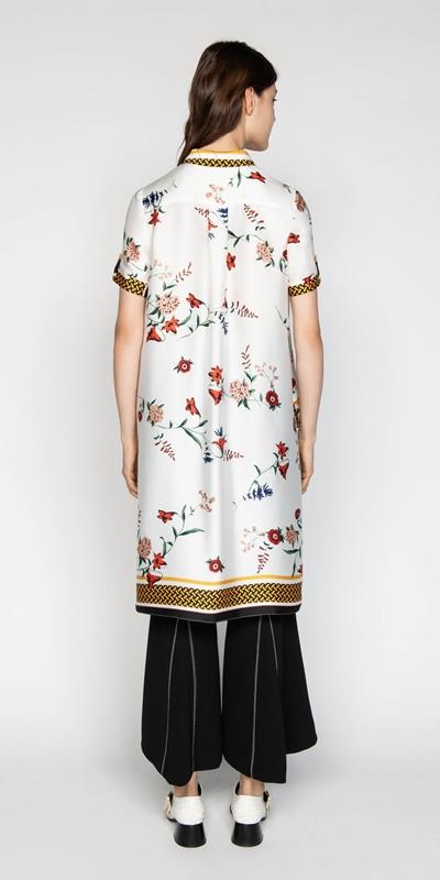 Tops | Scarf Print Stepped Hem Shirt