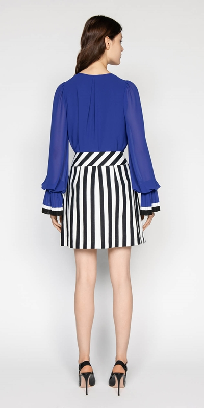 Tops | Georgette Pleated Cuff Blouse