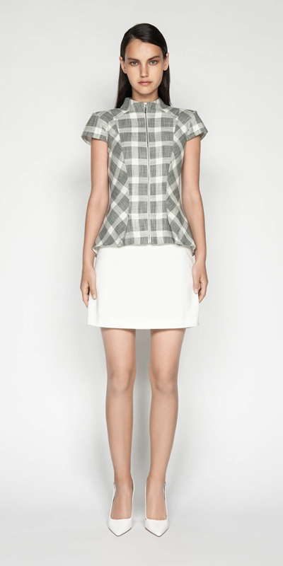 Tops | Monochrome Check Zip Front Top