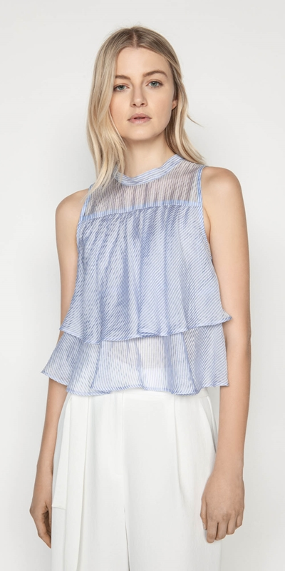 Tops | Stripe Tiered Frill Top