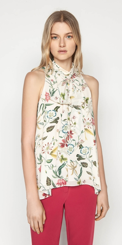Tops  | Illustrated Botanic Tie Neck Top