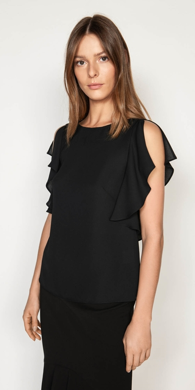 Tops | Fluted Split Sleeve Top
