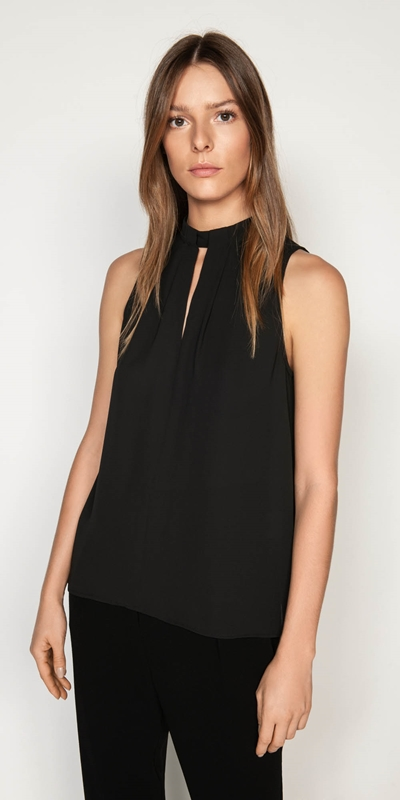 Tops  | Sleeveless Tuck Neck Top