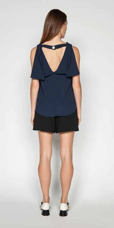 Tops | Crepe Draped Boat Neck Top