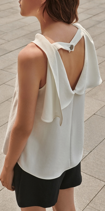 Wear to Work  | Crepe Draped Boat Neck Top