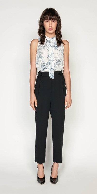 Wear to Work | Toile Crinkle Draped Neck Top
