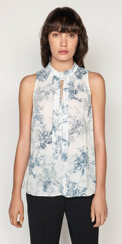 Tops | Toile Crinkle Draped Neck Top