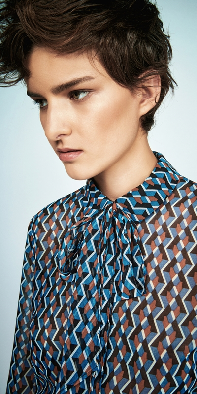 Wear to Work  | Geometric Tie Neck Blouse