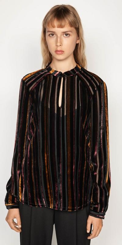 Tops | Velvet Stripe Blouse