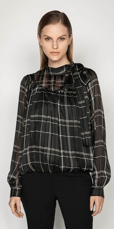 Work From Home  | Satin Check Bubble Blouse