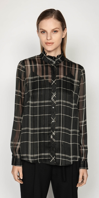 Tops | Satin Check Victorian Blouse