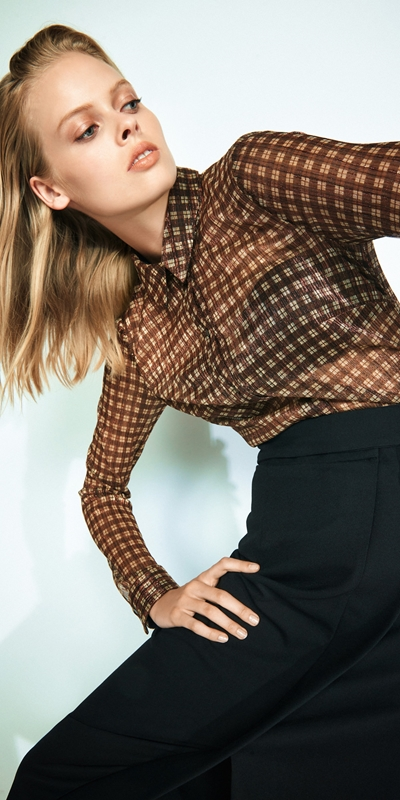 Tops  | Metallic Check Body Shirt