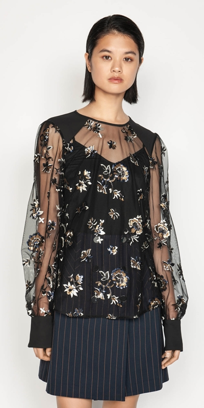 Tops  | Embroidered Sequin Top