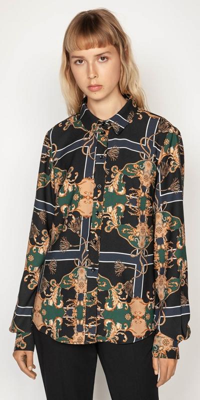 Shirts | Golden Baroque Crepe Shirt