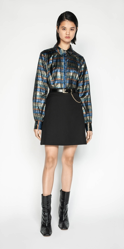 Sale | Metallic Check Blouson Sleeve Shirt