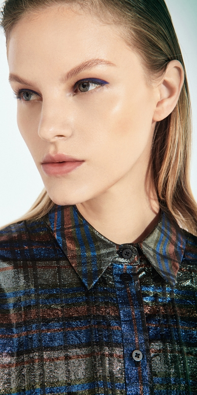 Tops  | Metallic Check Blouson Sleeve Shirt