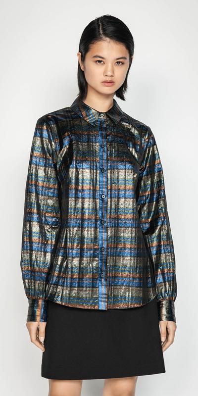 Shirts | Metallic Check Blouson Sleeve Shirt
