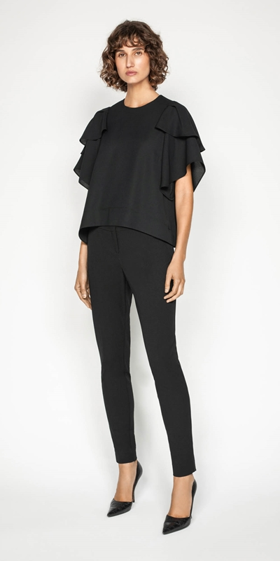 Work From Home | Fluted Cape Sleeve Top
