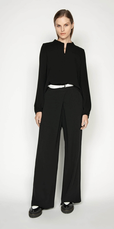 Work From Home | Crepe Funnel Neck Top