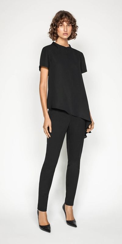 Work From Home | Asymmetric Hem Funnel Neck Top