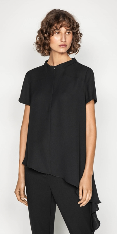 Tops | Asymmetric Hem Funnel Neck Top