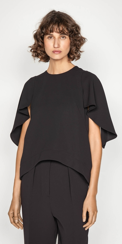 Wear to Work  | Plum Cape Sleeve Top