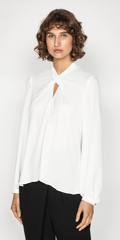 Tops | Cross Over Tuck Neck Top