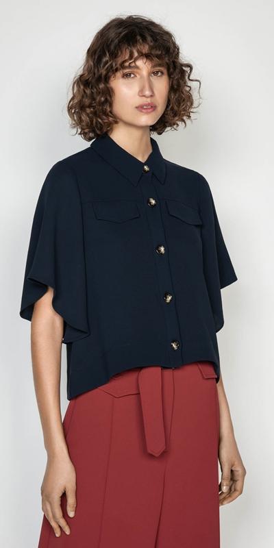 Tops   Kimono Sleeve Button Front Top