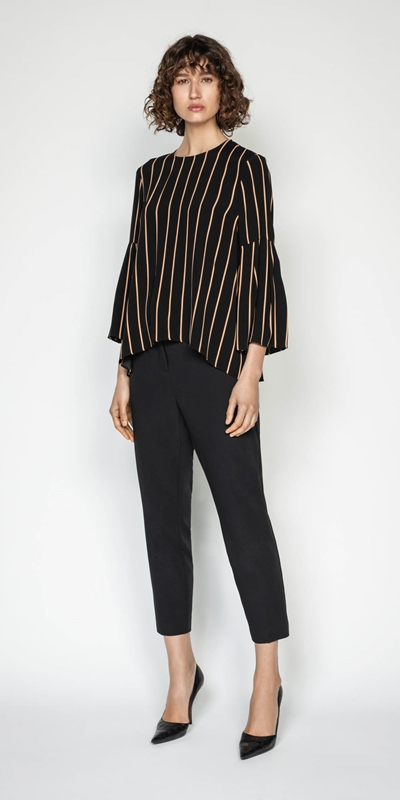 Sale | Stripe Bell Sleeve Top