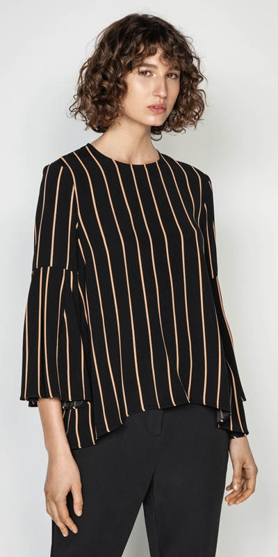 Wear to Work  | Stripe Bell Sleeve Top